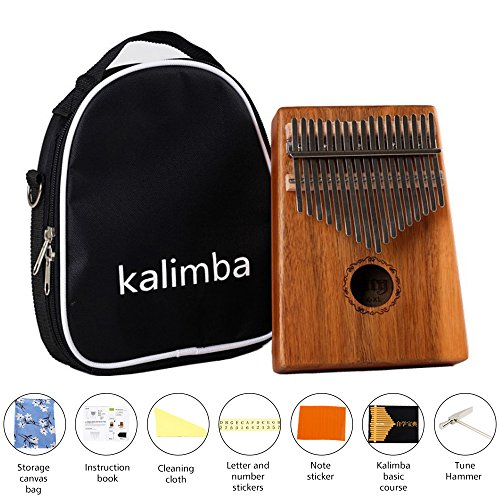 Kalimba 17 Key Thumb Piano, Portable Thumb Piano Mbira Sanza Mahogany Body Ore Metal Tines with Carrying Bag and Study Guide, Suitable for Music Lovers Beginners (Acacia)