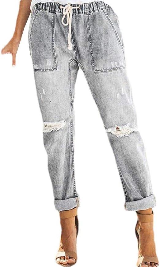 AngelSpace 女性ウォッシュホールコンフォートドローストリングスモックウエストジーンズパンツ