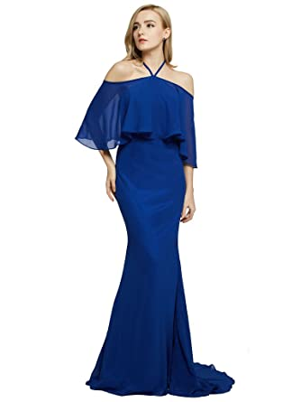 FAIRY COUPLE Trumpet Train Halter Chiffon Prom Dress Off the Shoudler D0439(UK10, Navy