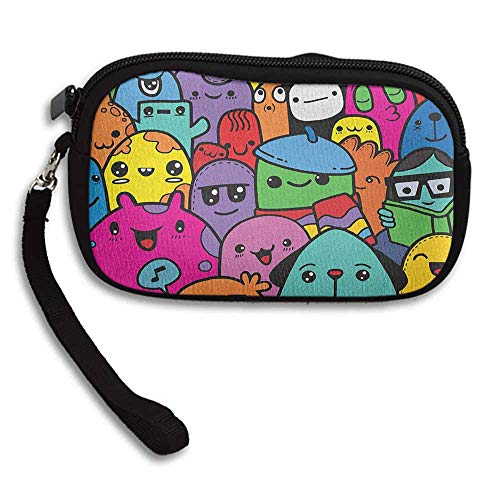 "Price comparison product image Indie Girls Wallet Hand Drawn Colorful Doodle of Funny Cute Crazy Monster Buddies Group Drawing Style W 5.9""x L 3.7"" Pouch Bag Case"