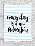 JAMES STRAIN Inspirational Quotes Tapestry, Every Day is a New Adventure Calligraphy Text Watercolor Stripes Print, Wall Hanging for Bedroom Living Room Dorm, 60 W x 80 L Inches, Light Blue