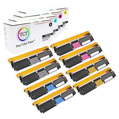 TCT Premium Compatible Toner Cartridge Replacement for QMS 2300 Konica Minolta Magicolor 2300DL 2300W 2350EN Printers (Black, Cyan, Magenta, Yellow) - 8 Pack ()