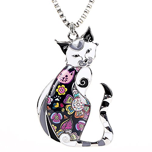 Marte&Joven Enamel Printed Cat Box Chain Necklace for Women Teens Cat Lovers Pendants Jewelry Great ()
