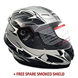 MMG Powersports Helmets 118S Motorcycle Full Face Helmet - Street Legal DOT Certified - SPIKES Gray Large
