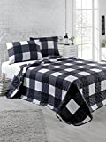 DecoMood Geometric Bedding, Full/Queen Size Bedspread/Coverlet Set, Black and White Squares Girls Boys Bedding, 3 PCS,