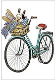 """Summer Retro Bicycle Basket Bike Flour Sack Cotton Kitchen Dish Towel - 30"""" x 30"""" Mary Lake Thompson design"""
