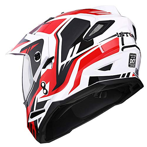 1Storm Dual Sport Motorcycle Motocross Off Road Full Face Helmet Dual Visor Storm Force Red, Size Medium