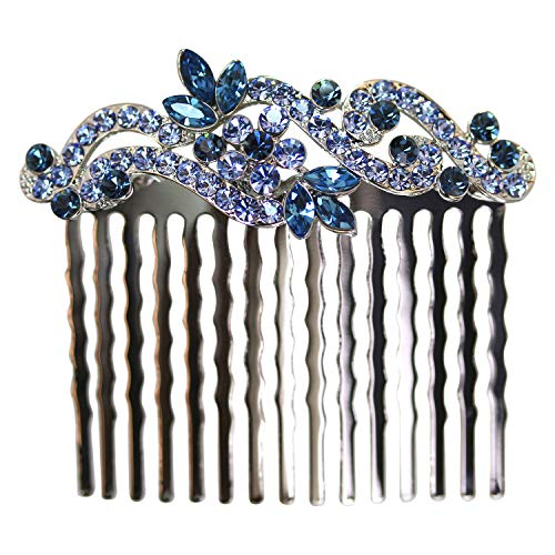 Faship Gorgeous Navy Blue Floral Hair Comb - Navy Blue