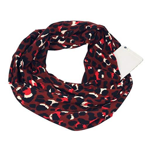 HULKAY Women Premium Soft Leopard Print Convertible Infinity Loop Zipper Pocket Circle Windproof Scarf(Coffee)
