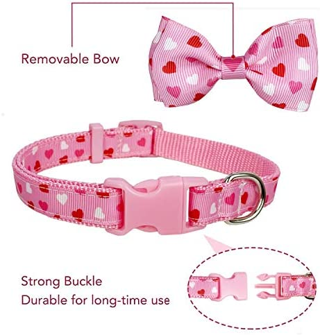 """Pohshido 2 Pack Valentine's Heart Dog Collar with Bow Tie, Holiday Cute Collar for Small Dogs Puppy Pets. (Love Song, Small-(11""""-17"""") Neck 5/8"""" Wide)"""