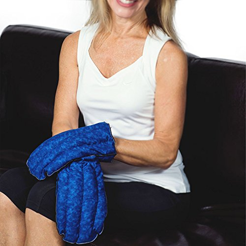Blue Hot and Cold Microwavable Kozy Heating Pad Mittens for the Hands