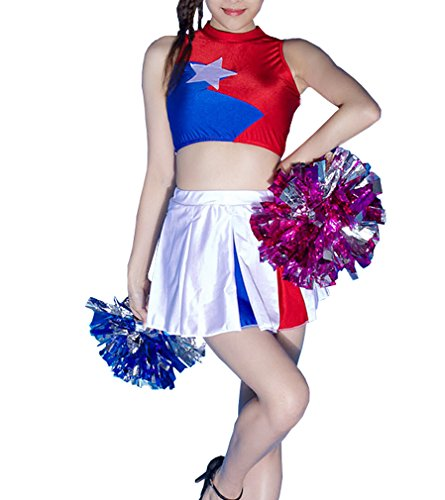 SHOLIND Girls Cheerleader Costume Uniform Two Piece Set With Cheerleading Poms (L)