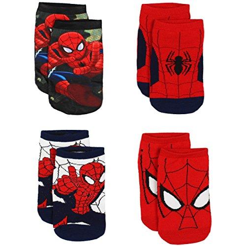 Spider-Man Boys 4 Pack Socks (6-8 Boys (Shoe: 10.5-4), Spider-Man Red/Multi)