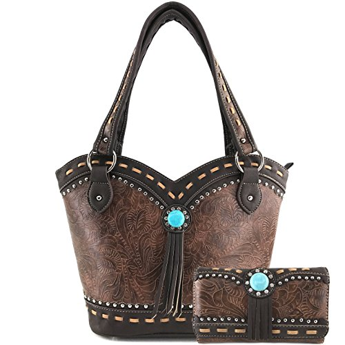 Justin West Tooled Western Leather Turquoise Stone Fringe Studded Shoulder Concealed Carry Handbag Purse (Brown Purse and Wallet)