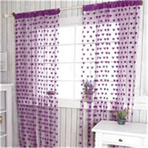 MLZ Cute Heart Line Tassel String Door Curtain Window Room Divider Curtain Valance Purple 2m length 1m width (Blinds Window 2 Circle 1)