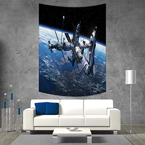 smallbeefly Outer Space Vertical Version Tapestry Space Shuttle and Station View Cosmonaut Adventure on Myst Globe Orbit Off Throw, Bed, Tapestry, or Yoga Blanket 57W x 74L INCH Blue Grey Black