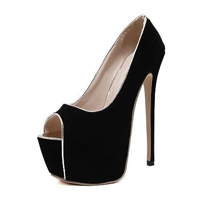 9a7c108f41fb Women Sexy High Heels Platform Pumps Stiletto Dress Party Wedding Shoes(Black  35 4.5