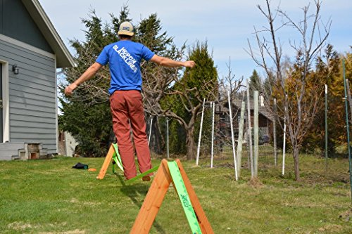 Portable Slackline Stands & Anchor Kit SLACKABOUT Easy Slackline Setup with No Trees 2x A Frame Stands (Solid Wood) + 2x Ground Augers Made in USA Perfect Height for Beginners