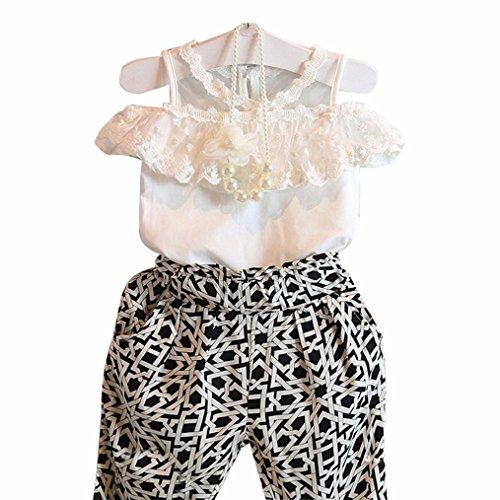 Plaid Kids Clothing (FEITONG Kids Girls' Clothing Set Plaid Strapless Sling Lace Shirt Top + Pant)