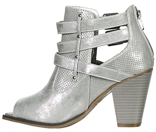 Buckle Women's Ankle Peep Booties Heel Forever Block Strap Silver wq56d6Cgn
