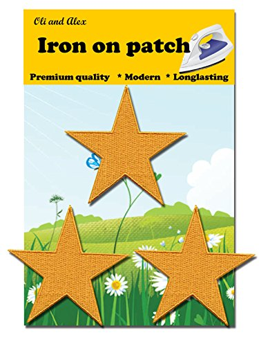 Iron On Patches - Yellow Star Patch 3 pcs Iron On Patch Embroidered Applique 2.75 x 2.67 inches (7.0 x 6.8 cm) A-132