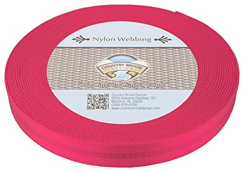 Country Brook Design 1 Inch Hot Pink Climbing Spec Tubular Nylon Webbing, 10 ()