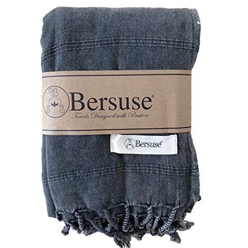 Bersuse 100% Cotton - Troy Extra Large (XL) Throw Blanket Turkish Towel - Bath Beach Fouta Peshtemal - Bed, Couch Throw, Table Cover, Picnic Mat - Stonewashed Handloom Weave - 60X82 Inches, Black ()