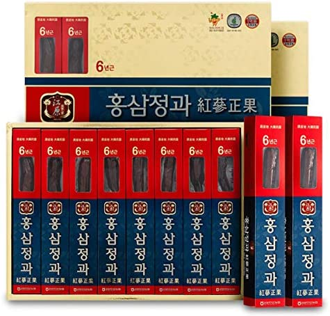 [Gangwoninsam] 6 Year Honeyed Korean Red Ginseng Whole Root, Healthy Korean Food, Portable Packs, 300g (37.5g x 8 Packs, 10.58 fl. oz)