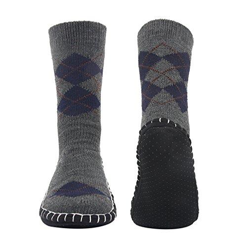 Vihir Men Knitted Non Skid Home Slipper Socks - Mens Slipper Sock