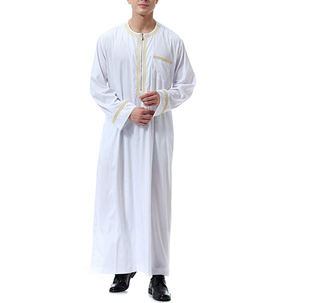 zhxinashu Muslim Shirt Long Sleeve Islamic Mens Clothing