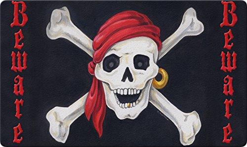 Toland Home Garden Beware 18 x 30 Inch Decorative Floor Mat Skull Bones Pirate Halloween (Tidy Cats Halloween Litter)