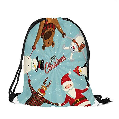 Price comparison product image UOKNICE Christmas Merry Candy Bag Satchel Rucksack Bundle Pocket Drawstring Storage Bag Xmas Gift Decorations