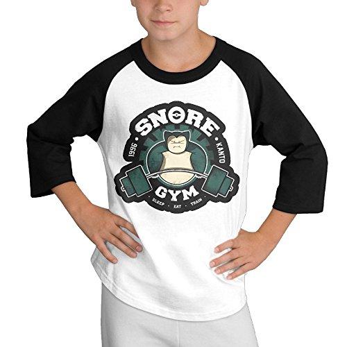 [BiuBiu Poke Snorlax Gym 1996 Teenagers 3/4 Sleeve T-shirt SizeM] (Snorlax Costume Diy)