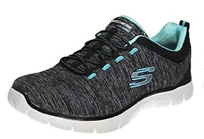 Skechers Empire Mine All Mine Women's Fashion Sneakers, Black/Turquise 7 US