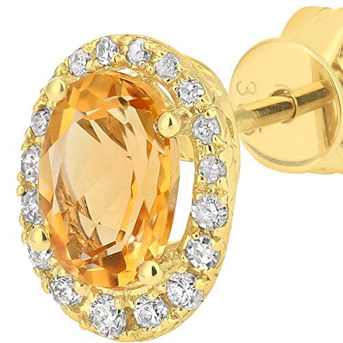 Revoni Bague en or jaune 9carats avec diamant et Citrine Boucles d'oreilles clous Coupe ovale