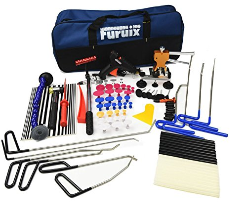Furuix PDR Tools Paintless Dent Repair Tools Auto Dent Puller Kit PDR Kit with PDR Rods Dent Lifter Glue Pulling Tabs Line Board Auto Dent Remover Door Ding Repair Kit by Furuix (Image #1)