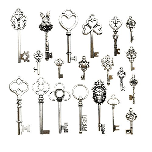 (40Pcs Craft Supplies Mixed Skeleton Key Charms Pendants for Crafting, Jewelry Findings Making Accessory For DIY Necklace Bracelet Earrings (Silver Key)