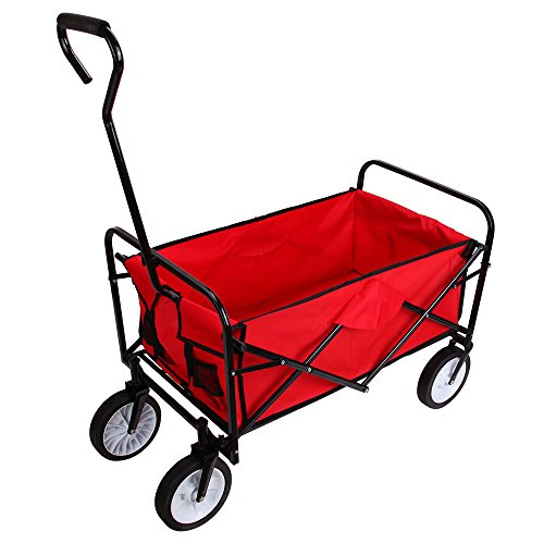 Buy Bargain Teekland Folding Garden Wagon, Collapsible Utility Cart Shopping Beach, Pull-Along wagon...