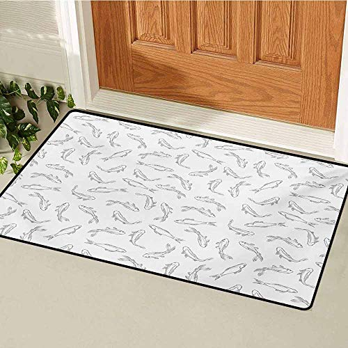 GUUVOR Grey and White Inlet Outdoor Door mat Fish Pattern Underwater Animals Abstract Marine Lake Peaceful Illustration Catch dust Snow and mud W19.7 x L31.5 Inch Grey White