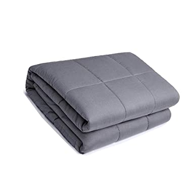 Sivio Weighted Blanket (48  x 72 , 15lbs for 100-150lb Individual, Grey) for Adults | 100% Cotton Material with Glass Beads | Great for Relaxing