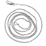 Luxurman 14K Solid White Gold 1.1mm Wide Diamond Cut Cable Link Chain 17″ Necklace with Lobster Clasp