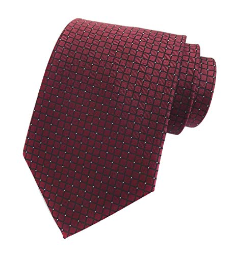 Men Micro Check Claret Red Silk Ties Vintage Maroon Autumn uk Brick Red Neckties ()