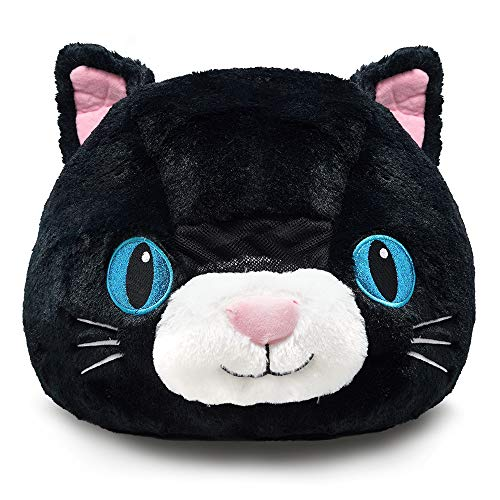 Plush Animal Head Mask Costume | Fun Furry Mascot Head with Mouth Opening (Black Cat)]()