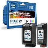 Refresh Cartridges Lot de 2 cartouches reconditionnées HP 15/HP 78 pour imprimantes HP Deskjet 920C, 940C, OfficeJet PSC 720, 750, 760, 950, 2120, 5110, V30, V40, V45, Digital Copier 310, Fax 1230