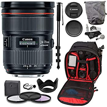 Image of Accessory Bundles Canon EF 24-70mm f/2.8L II USM Standard Zoom Lens, 82mm Filter Set, Cleaning Kit, Ritz Gear Photo Backpack and Accessory Bundle