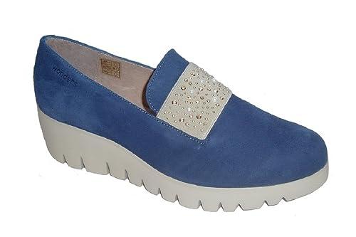 Wonders C-33117 Zapato Mujer Piel Ante Color Azul baltico, Piso Flyer Ultraligero de