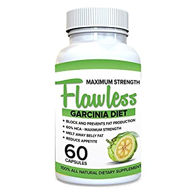 FLAWLESS GARCINIA CAMBOGIA*** 100% Pure Garcinia Cambogia Extract with HCA, Extra Strength, 180 Capsules, All Natural Appetite Suppressant, carb blocker, Weight Loss Supplement