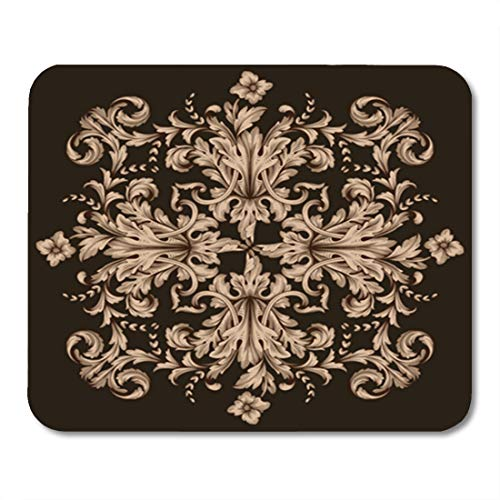 Semtomn Gaming Mouse Pad Gold Vintage Baroque Retro Pattern Antique Acanthus Filigree You 9.5