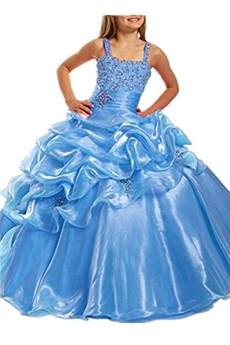 Costume Ball Gowns Cheap (Pageant Dresses for Juniors Spaghetti Straps Floor Length Girls Ball Gown Prom Dress Blue,12)
