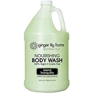 Ginger Lily Farms Botanicals Island Tranquility Nourishing Body Wash, Softens, Nourishes & Cleans Skin, Natural Spa Quality, 100% Vegan & Cruelty-Free, 1 gallon